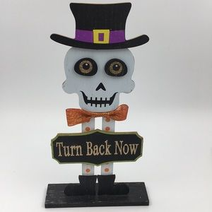 Other - Halloween Skeleton Wood Sign Stand Decor